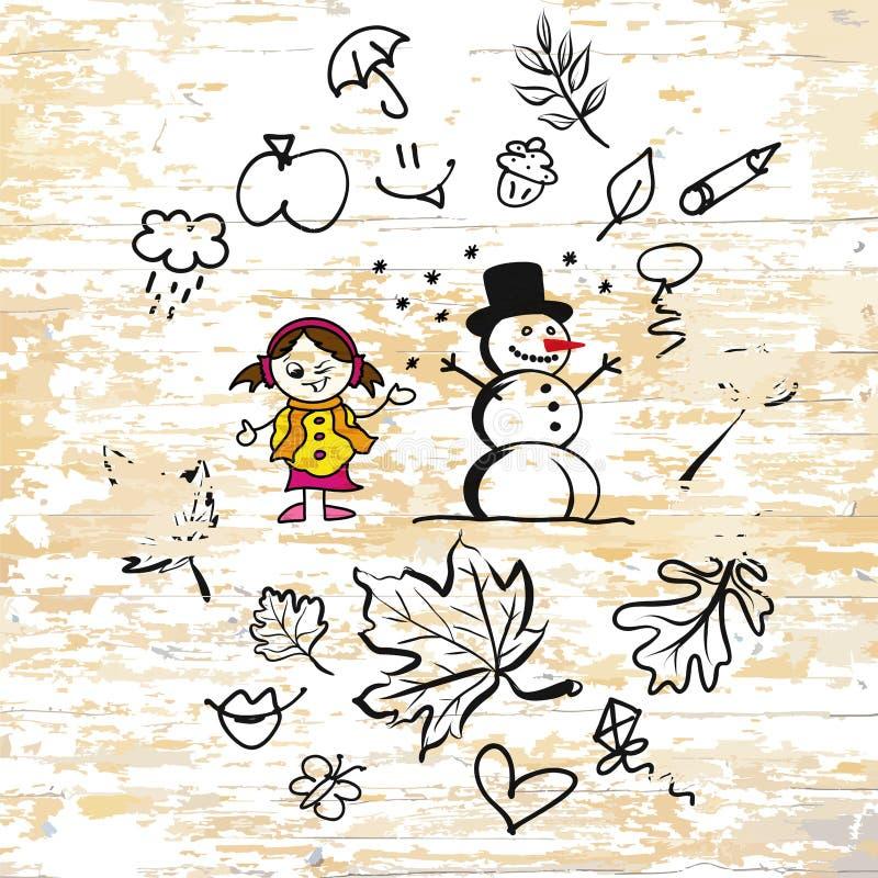 Сезон осени doodles на деревянной предпосылке иллюстрация штока