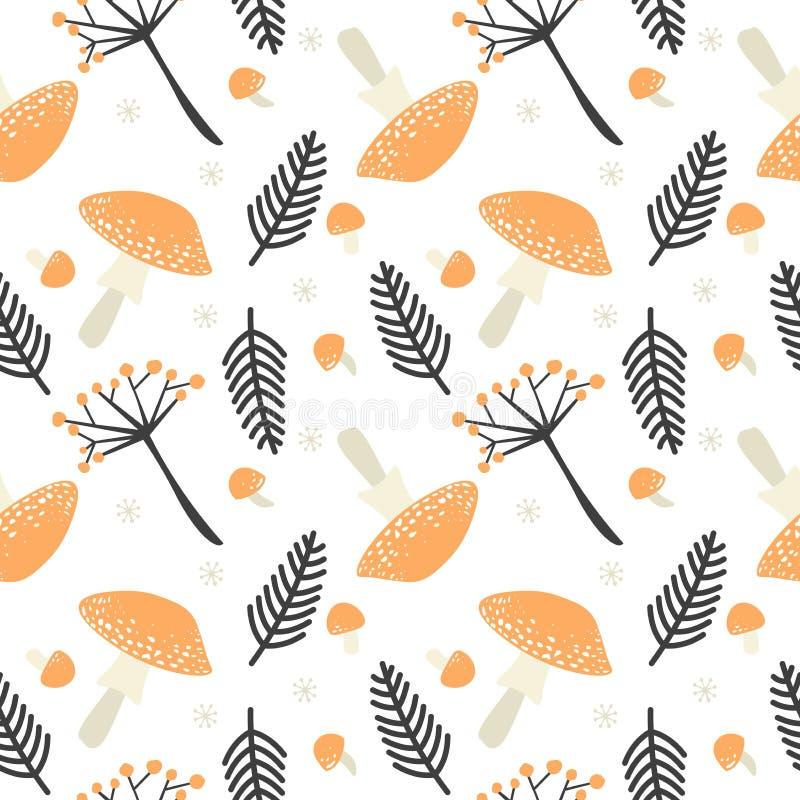 Сезон падения на лесе в форме украшения вектора repeatable на белой предпосылке Картина осени безшовная с апельсином иллюстрация штока