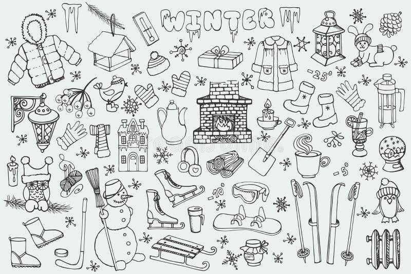 Сезон Winteer Комплект элементов Doodle линейно бесплатная иллюстрация