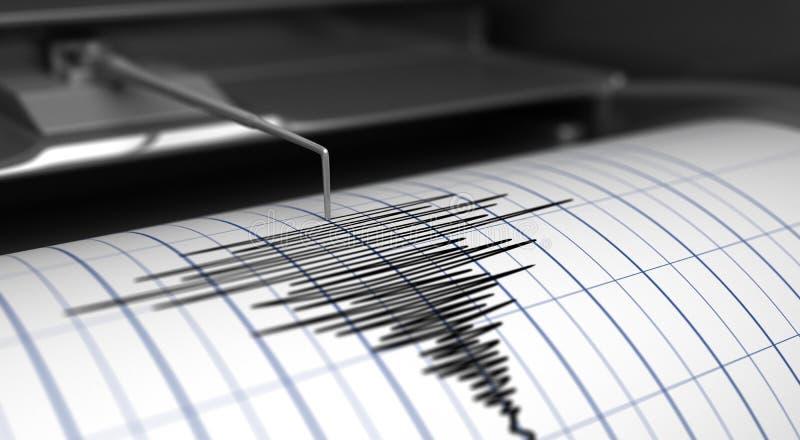 Сейсмограф и землетрясение иллюстрация вектора
