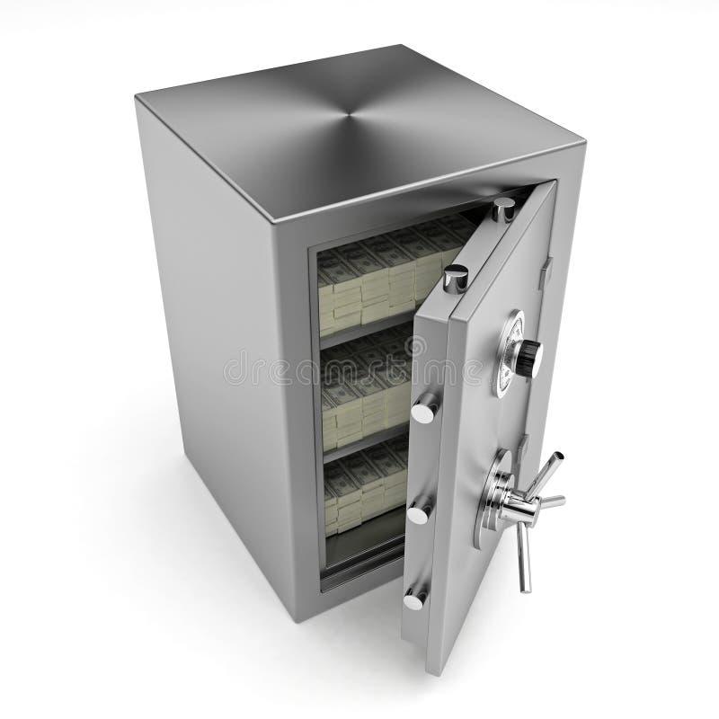 Сейф банка с деньгами иллюстрация вектора