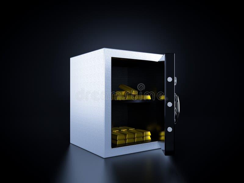 Сейф банка с золотом внутрь бесплатная иллюстрация