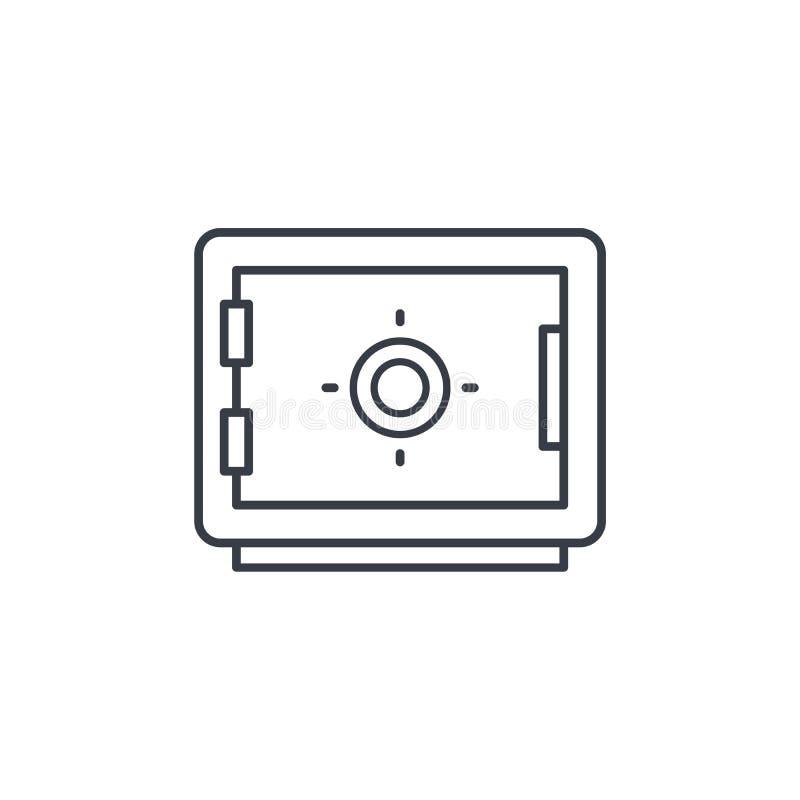 Сейф, банк, безопасность денег, линия значок предохранения от наличных денег тонкая Линейный символ вектора иллюстрация вектора