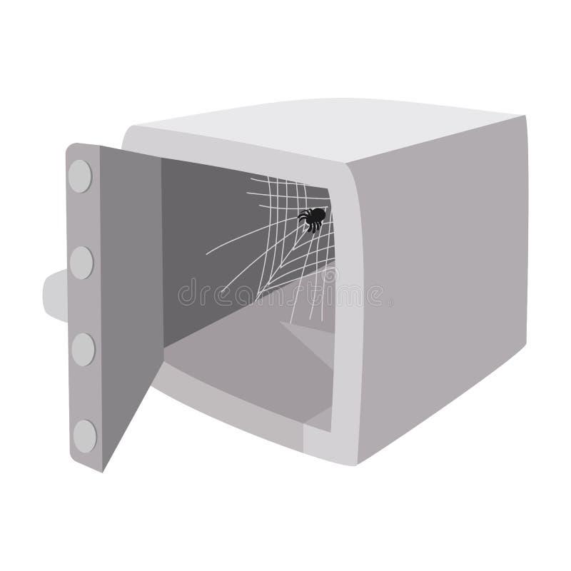 Сейф безопасностью с раскрытым значком шаржа двери иллюстрация штока
