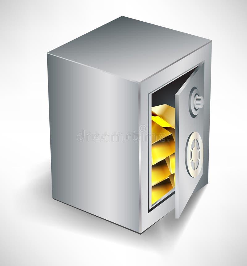 сейф внутренности золота открытый иллюстрация вектора