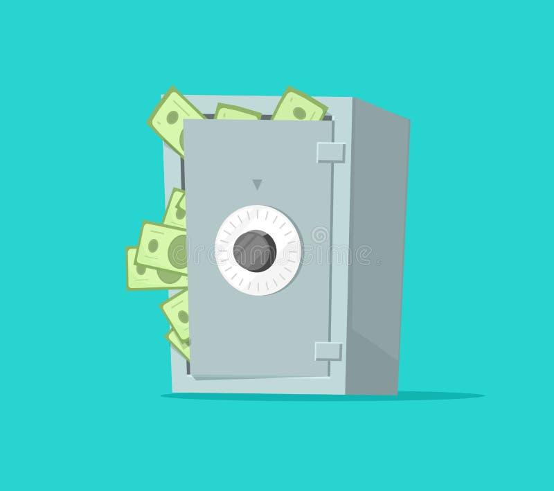 Сейф вполне иллюстрации вектора бумажных денег, плоский шарж получает внутри свод наличными, концепцию безопасности богатства или бесплатная иллюстрация