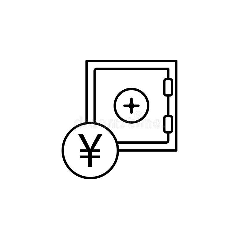Сейф, значок юаней Элемент иллюстрации финансов Знаки и значок символов можно использовать для сети, логотипа, мобильного приложе бесплатная иллюстрация