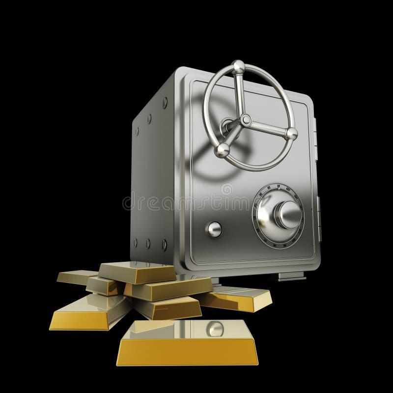 сейф изолированный золотом стоковые изображения