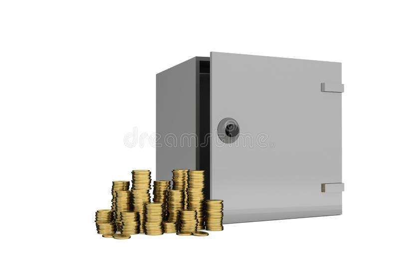 Сейф металла безопасностью с золотыми долларами чеканит на переднем плане Изолят на белой предпосылке сейф концепция денег иллюстрация вектора