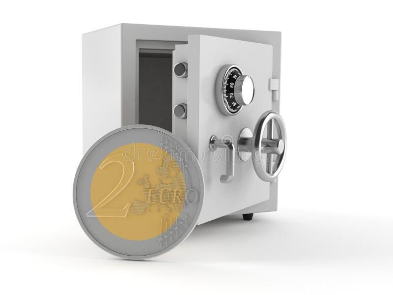 Сейф с монеткой евро бесплатная иллюстрация