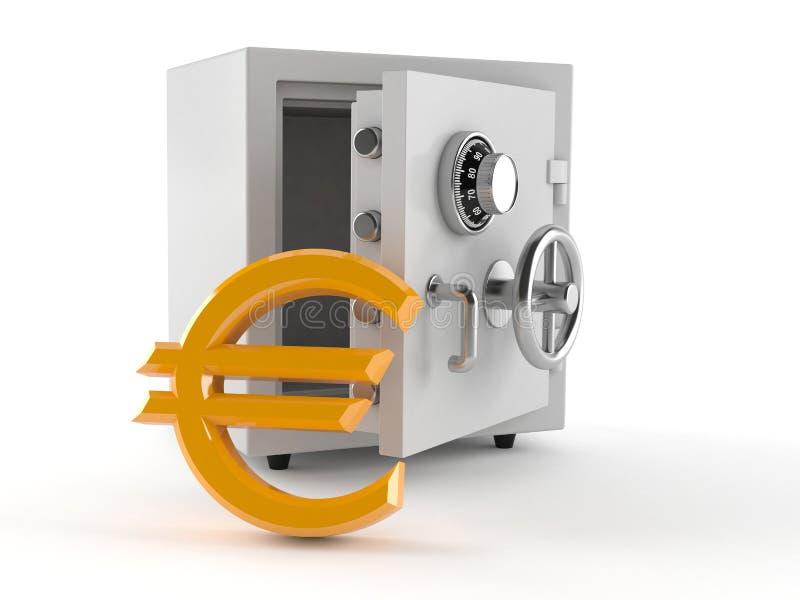 Сейф с символом евро иллюстрация вектора
