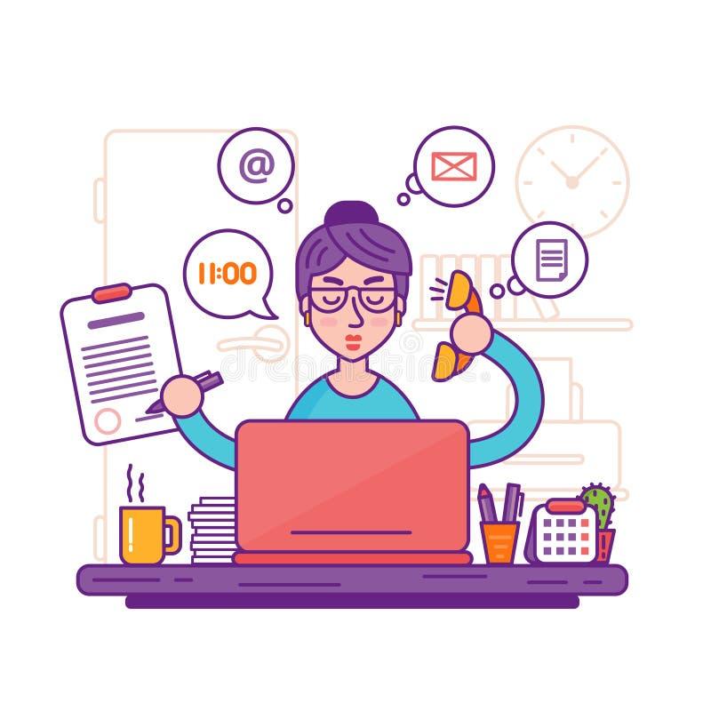 Секретарша женщины или женская иллюстрация вектора личного помощника стоковые изображения rf
