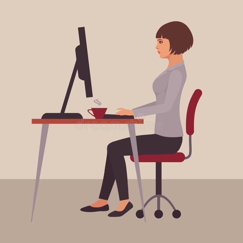 Секретарша на столе иллюстрация вектора
