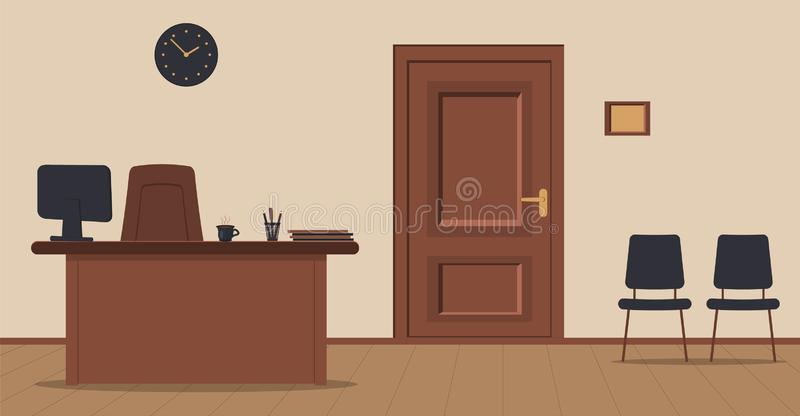 Секретарша рабочего места в приеме на предпосылке сливк бесплатная иллюстрация