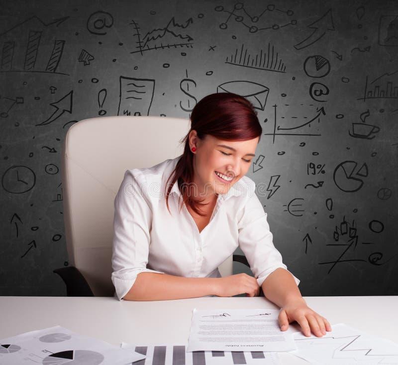 Секретарша с концепцией multitask doodle стоковые фотографии rf