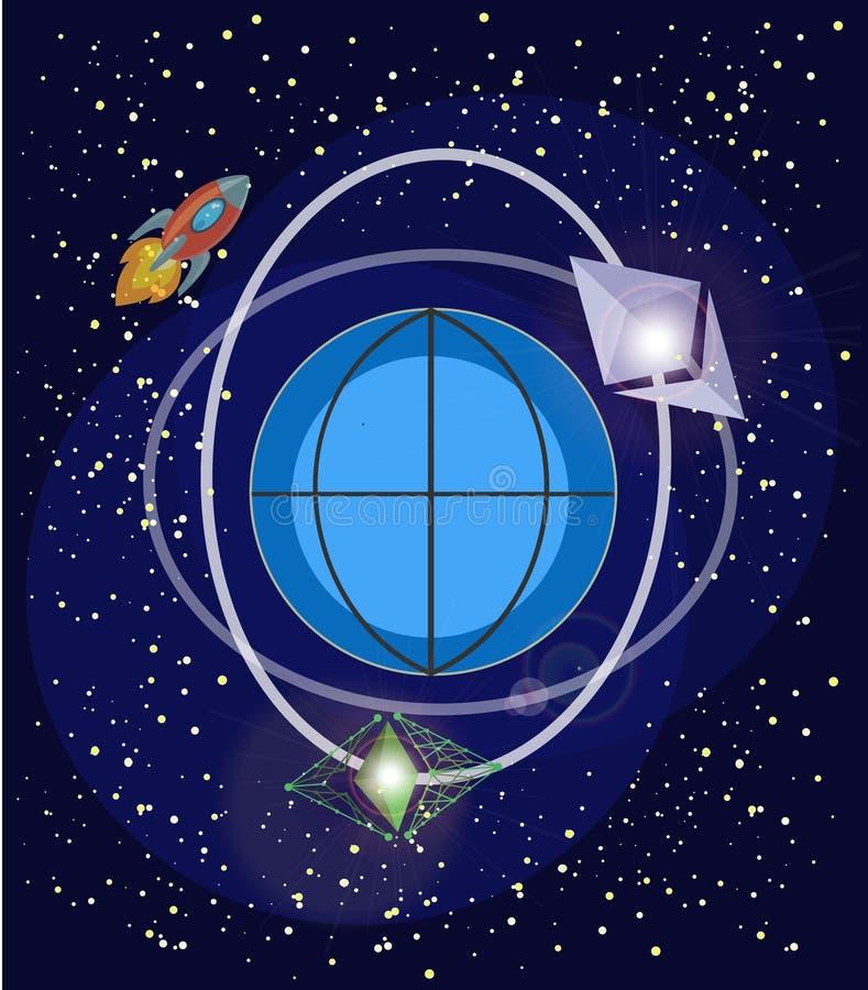 Секретная валюта Ethereum Логотипы секретного ethereum валюты и мухы ethereum классической в ` s земли двигают по орбите иллюстрация штока