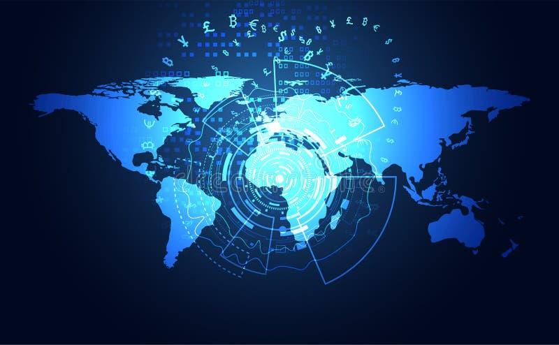Секретное абстрактной большой технологии передачи данных глобальное цифровое иллюстрация штока