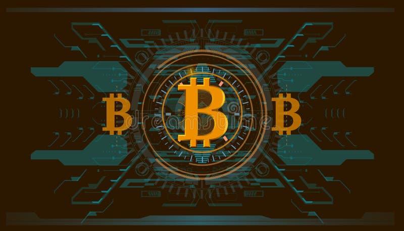 Секретный-валюта, технология bitcoin, bitcoin абстрактного визуализирования футуристическое, астетическая предпосылка bitcoin hud бесплатная иллюстрация