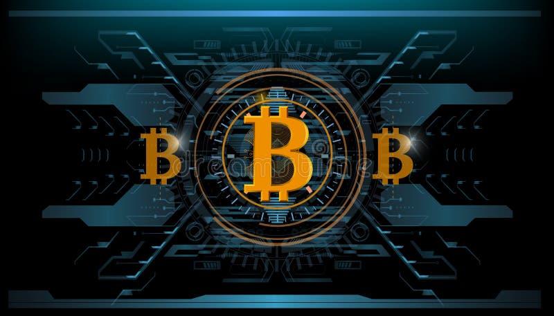 Секретный-валюта, технология bitcoin, bitcoin абстрактного визуализирования футуристическое, астетическая предпосылка bitcoin hud иллюстрация вектора