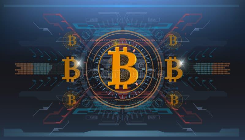 Секретный-валюта, технология bitcoin, bitcoin абстрактного визуализирования футуристическое, астетическая предпосылка bitcoin hud иллюстрация штока