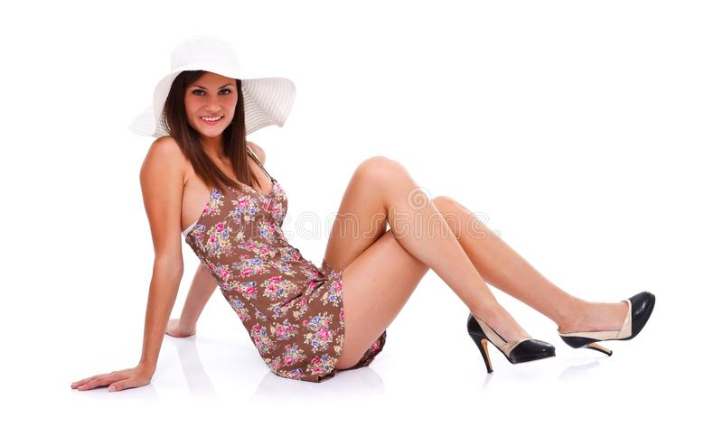 Сексуальная женщина в платье лета стоковая фотография rf