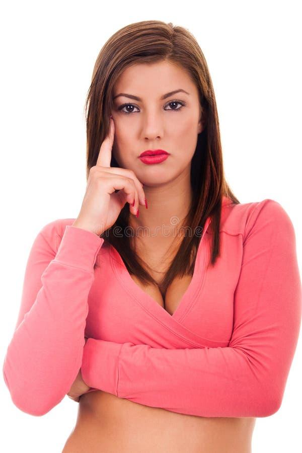 сексуальная женщина рубашки t нося стоковое фото