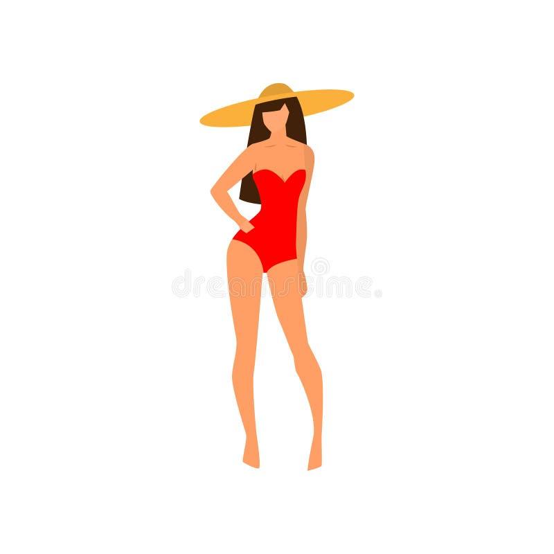 Сексуальная женщина со шляпой пляжа и красным красочным купальником иллюстрация штока