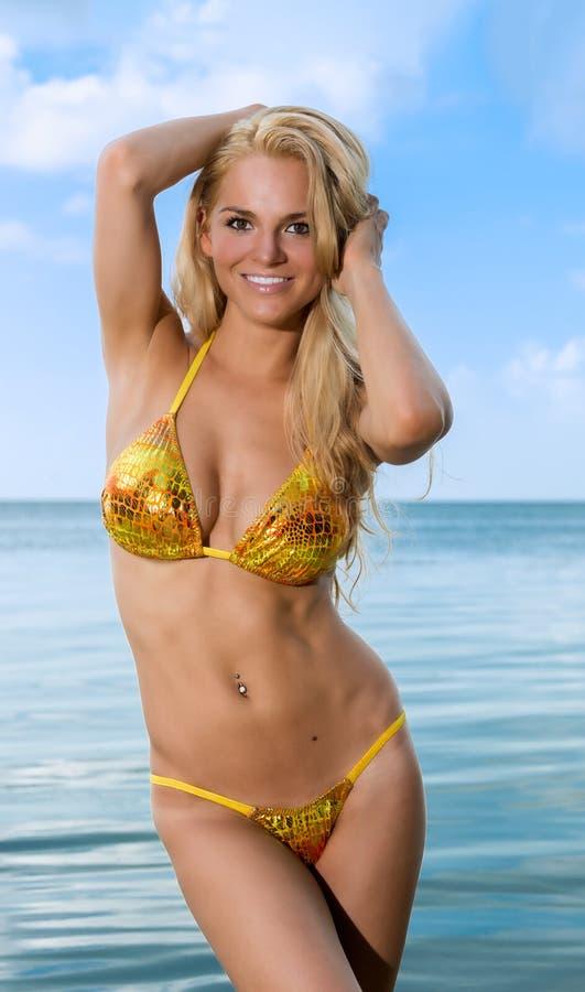 Сексуальная женщина сь в пляже стоковое изображение