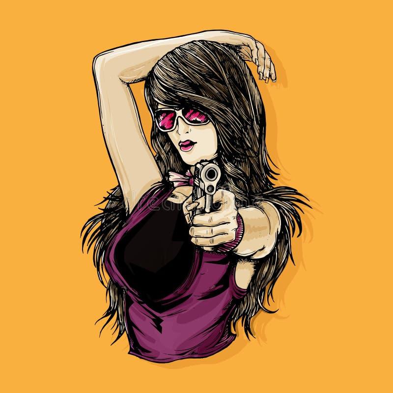 Сексуальное оружие удерживания дамы Gangsta иллюстрация штока