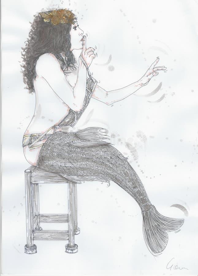 Сексуальные мермайдсоригиональные рисунки, нарисованные с водяным цветом на бумаге стоковое фото