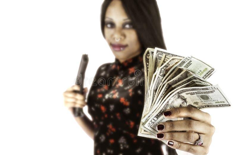 Сексуальный афроамериканец с пушкой и наличными деньгами стоковые фотографии rf