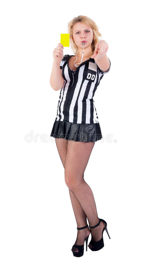 Сексуальный судья-рефери футбола с желтой карточкой стоковое фото rf