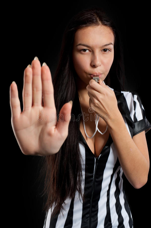 Сексуальный судья-рефери футбола стоковое фото
