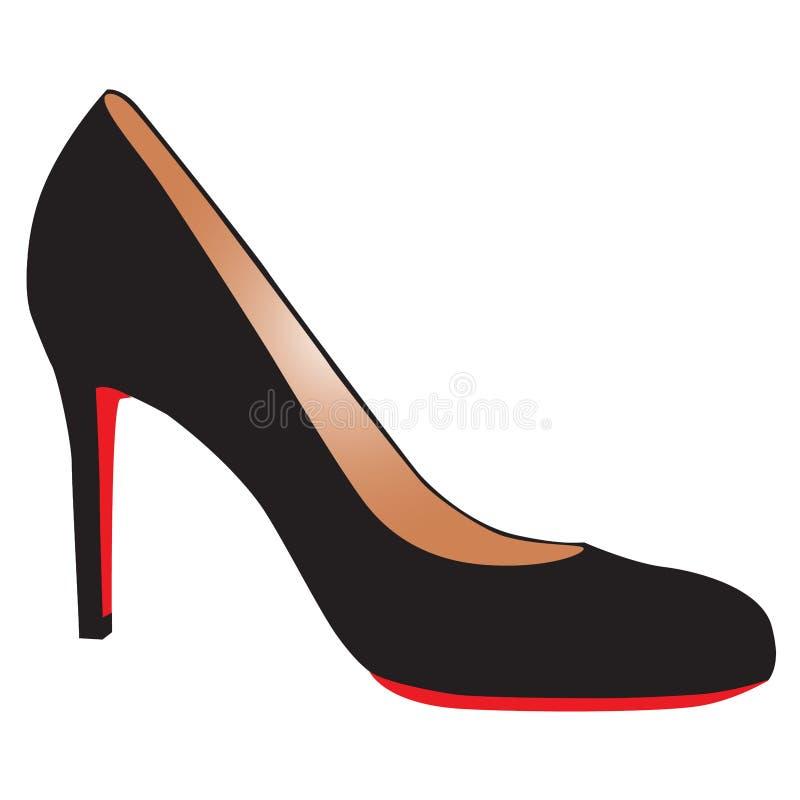 Сексуальный черный ботинок высок-пятки с красной подошвой бесплатная иллюстрация