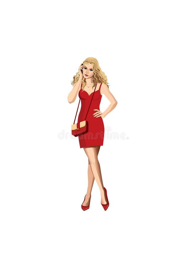 Сексуальная белокурая девушка очарования звоня телефонный звонок стоковая фотография