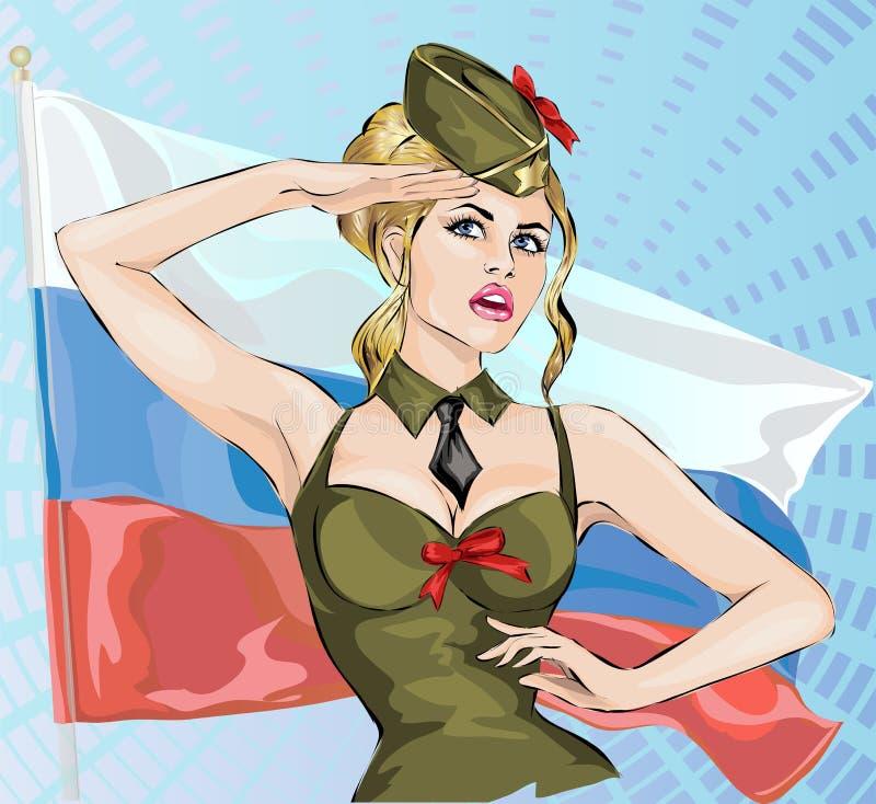Сексуальная девушка в военной форме