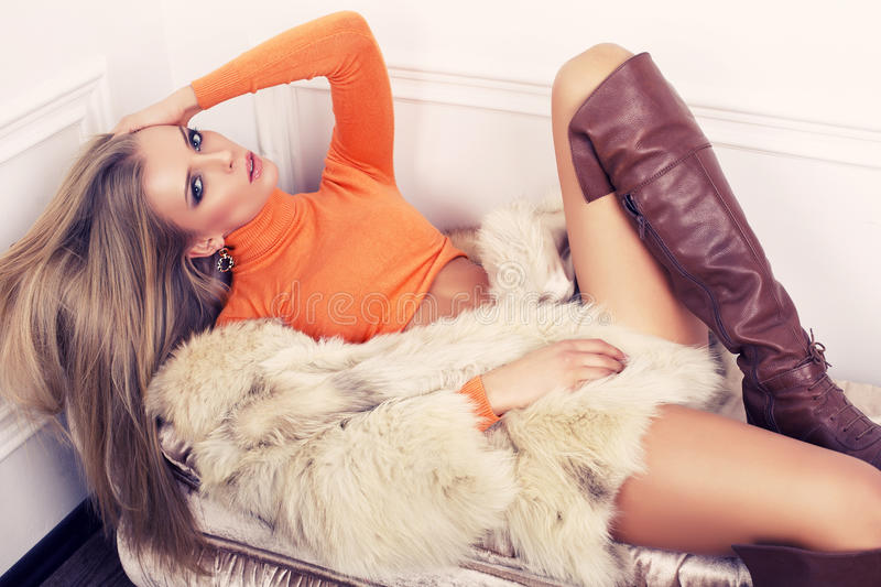 Beautiful Sexy Half Nude Woman In Fur Jacket Photograph By Maxim Images Prints