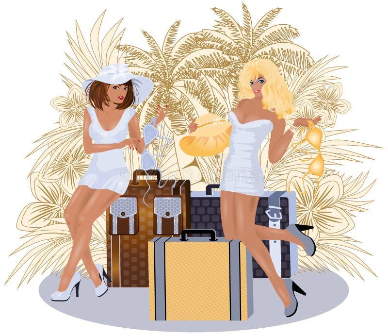 Сексуальное лето 2 путешествуя девушки иллюстрация штока