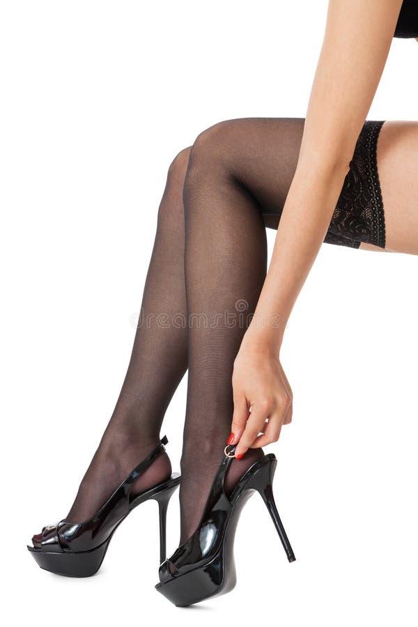 Сексуальные ножки в чрных чулках