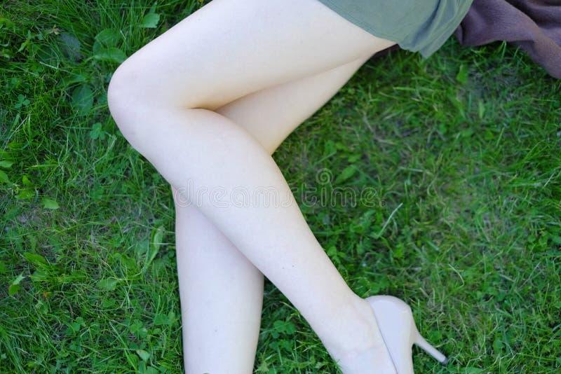 Сексуальные женские ноги на траве стоковые изображения