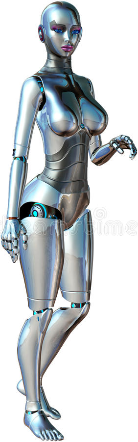 Сексуальный женский изолированный робот андроида бесплатная иллюстрация