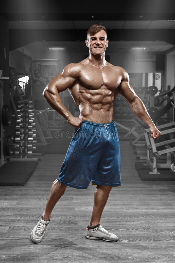 Сексуальный мышечный человек представляя в спортзале, форменное подбрюшном Сильный мужской нагой abs торса, разрабатывая стоковые изображения rf