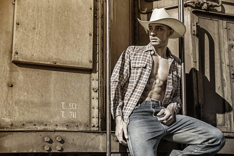 Сексуальный топлесс ковбой представляя против старого поезда стоковые фото