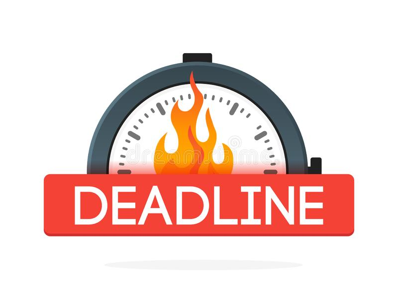 Секундомер со значком пламени огня Концепция крайнего срока зацепляет икону иллюстрация вектора