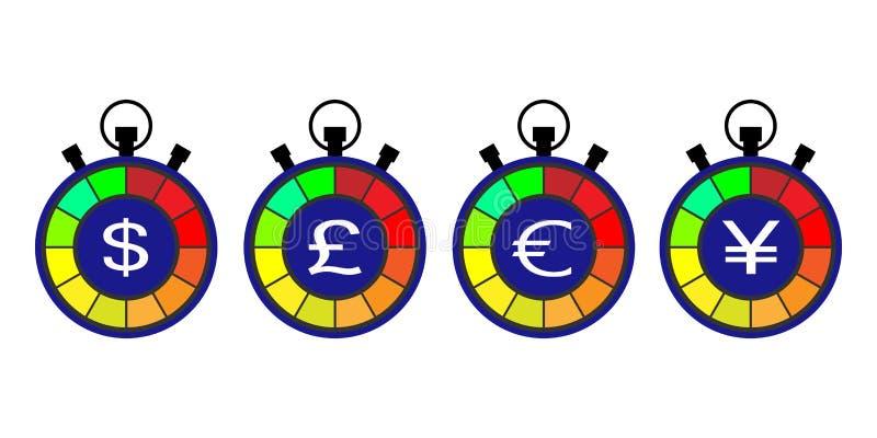 Секундомер, счетчик курса валюты символы валютной биржи, доллар, фунт, знаки евро и иен иллюстрация вектора