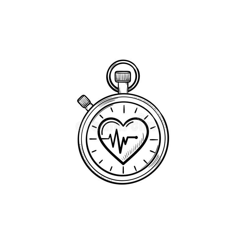Секундомер с значком doodle плана символа сердца нарисованным рукой бесплатная иллюстрация