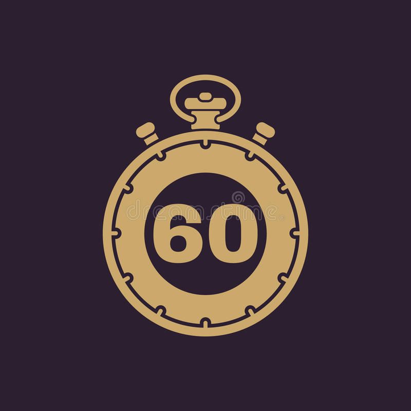 60 секунд, значок секундомера минут Часы и вахта, таймер, комплекс предпусковых операций, символ секундомера Ui Веб логос Знак пл иллюстрация штока