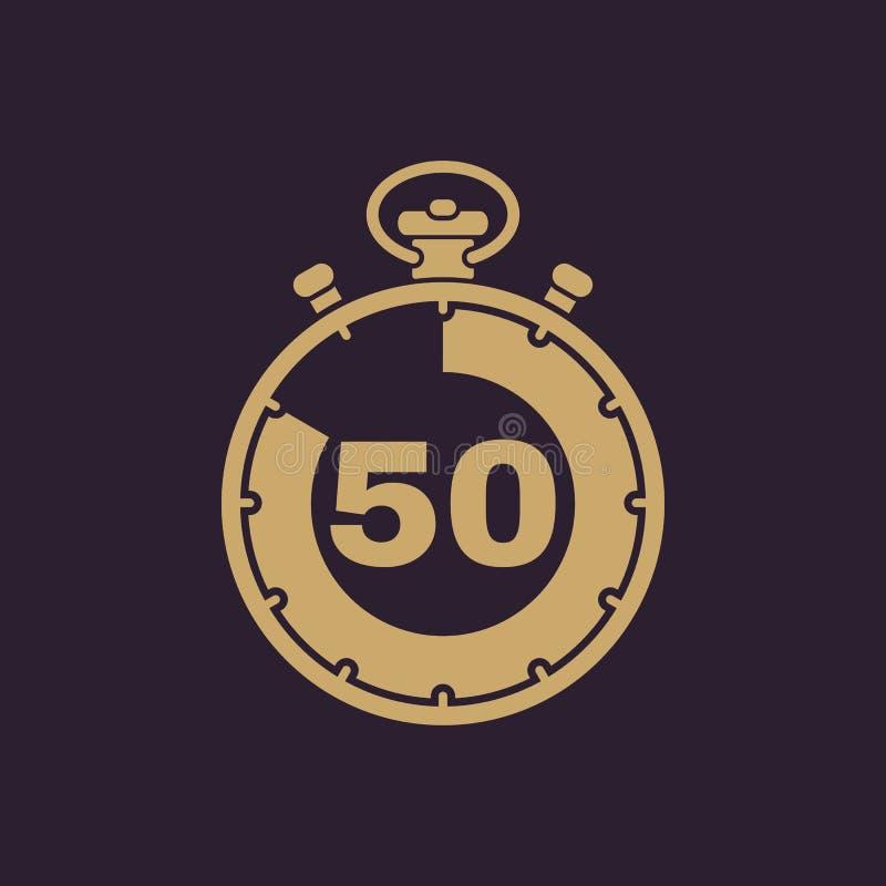 50 секунд, значок секундомера минут Часы и вахта, таймер, комплекс предпусковых операций, символ секундомера Ui Веб логос Знак пл иллюстрация вектора
