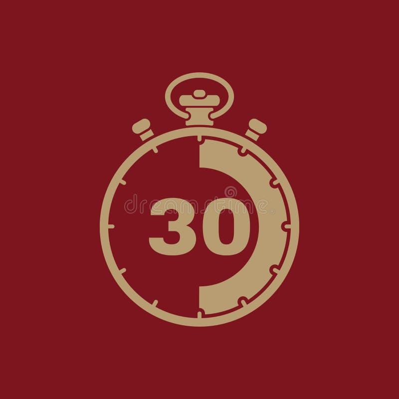 30 секунд, значок секундомера минут Часы и вахта, таймер, комплекс предпусковых операций, символ секундомера Ui Веб логос Знак пл иллюстрация вектора