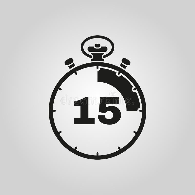 15 секунд, значок секундомера минут Часы и вахта, таймер, символ комплекса предпусковых операций Ui Веб логос Знак Плоский дизайн иллюстрация штока